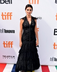 Penelope Cruz . Toronto International Film Festival: Penelope Cruz Chanel Ambassador & main actress in the movie alongside Javier Bardem, wore a black layered lace dress, look 44, from the Spring-Summer 2018 Haute Couture collection. Chanel shoes. (photo by George Pimentel)