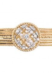 Chanel Tweed Cordage Bracelet Yellow Gold