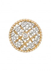 Chanel Tweed Cordage Brooch Yellow Gold