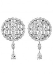 Chanel Tweed Cordage Earrings White Gold