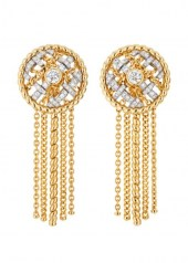 Chanel Tweed Cordage Earrings Yellow Gold