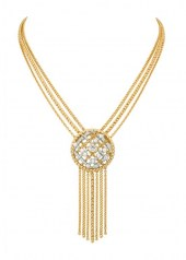 Chanel Tweed Cordage Necklace Yellow Gold