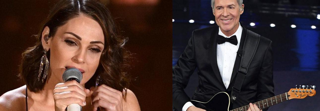 Claudio Baglioni wore Ermanno Scervino . Anna Tatangelo wears Ottaviani Bijoux during the final of the Sanremo Festival 2019