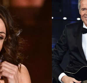 Claudio Baglioni wore Ermanno Scervino . Anna Tatangelo wears Ottaviani Bijoux during the final of the Sanremo Festival 2019