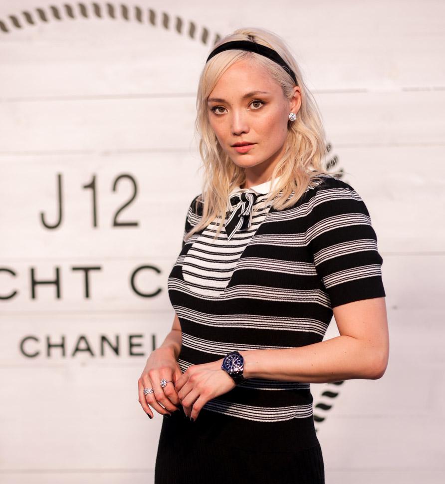 Pom Klementieff, wearing Chanel (photo by Carl Timpone/BFA.com