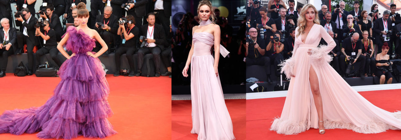 Lily-Rose Depp in Chanel - The King Premiere 76th Venice Film Festival (photo by Vittorio Zunino Celotto) . Nicole Macchi wore Wilhja ( photo by © Federica Pierpaoli) . Eleonora Carisi wore Blumarine at the 76th Venice International Film Festival