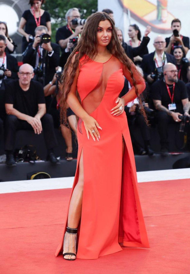 76th Venice Film Festival - Elettra Lamborghini dress of his homonymous line, Elettra Lamborghini Couture and accessories JF London