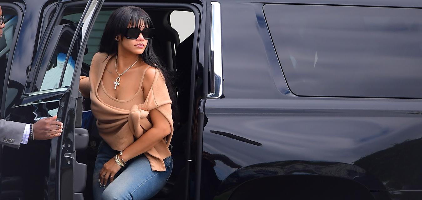 Rihanna wears Bottega Veneta Lido shoes in New York (photo by DIGGZY / SplashNews.com)