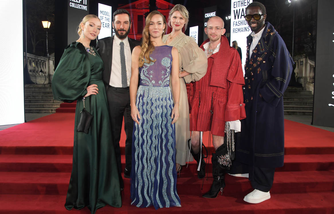 (L to R) Clara Paget, Tiziano Guardini, Johanna Maggy, Caroline Smithson, Patrick McDowell and Wilson Oryema arrive at The Fashion Awards 2019 held at Royal Albert Hall on December 2, 2019 in London, England (photo by Dave Benett