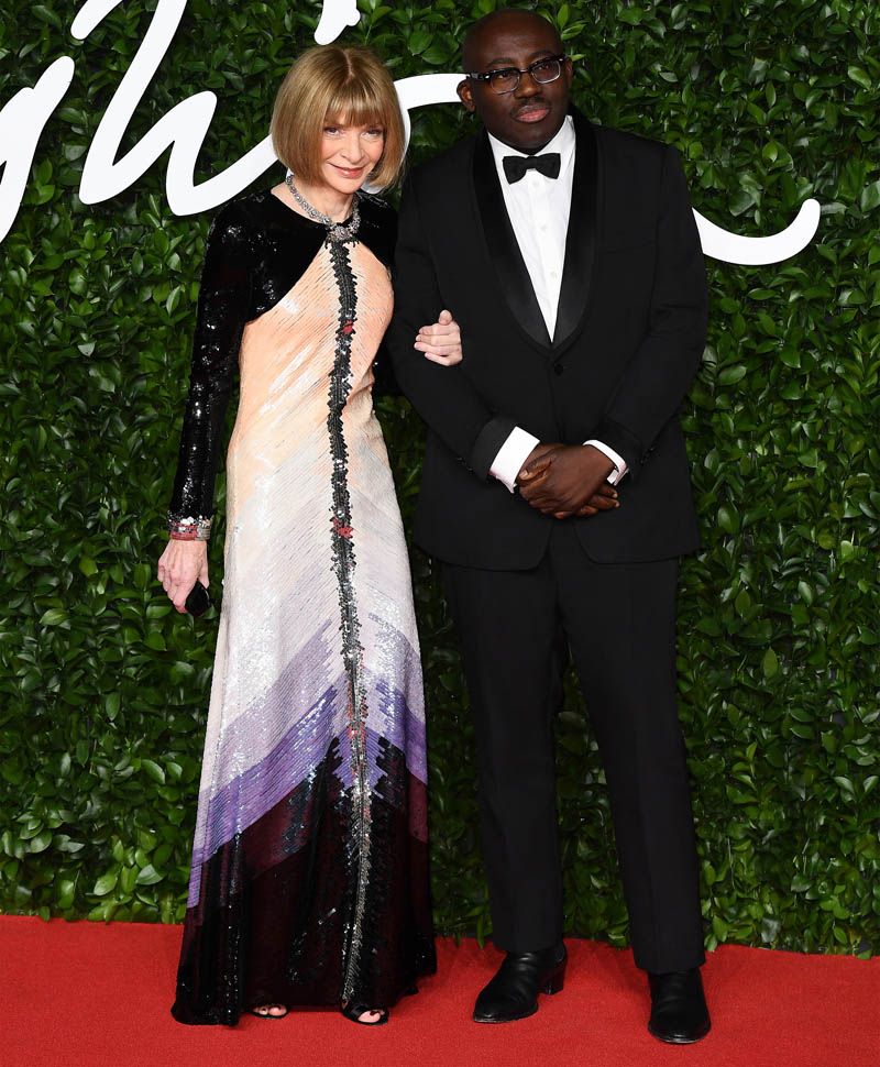 Edward Enninful wore Burberry - Anna Wintour Chanel Couture at The Fashion Awards 2019 (photo by Jeff Spicer/BFC)