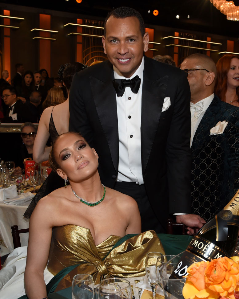Jennifer Lopez wore a strapless, color-blocked Valentino and Alex Rodriguez (photo by Michael Kovac)