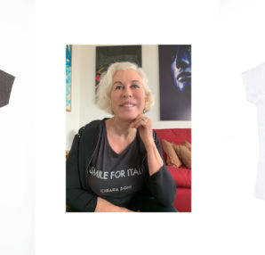 "Chiara Boni contro COVID-19. Le t-shirt ""Smile for Italy"""