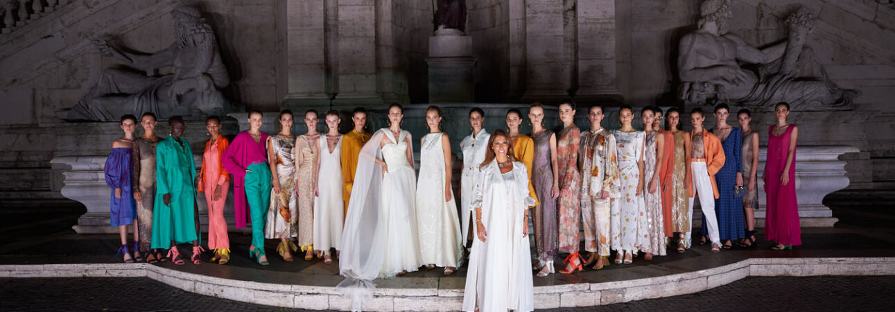 Anna Cleveland - Laura Biagiotti Roman Reinassance Spring Summer 2021 collection