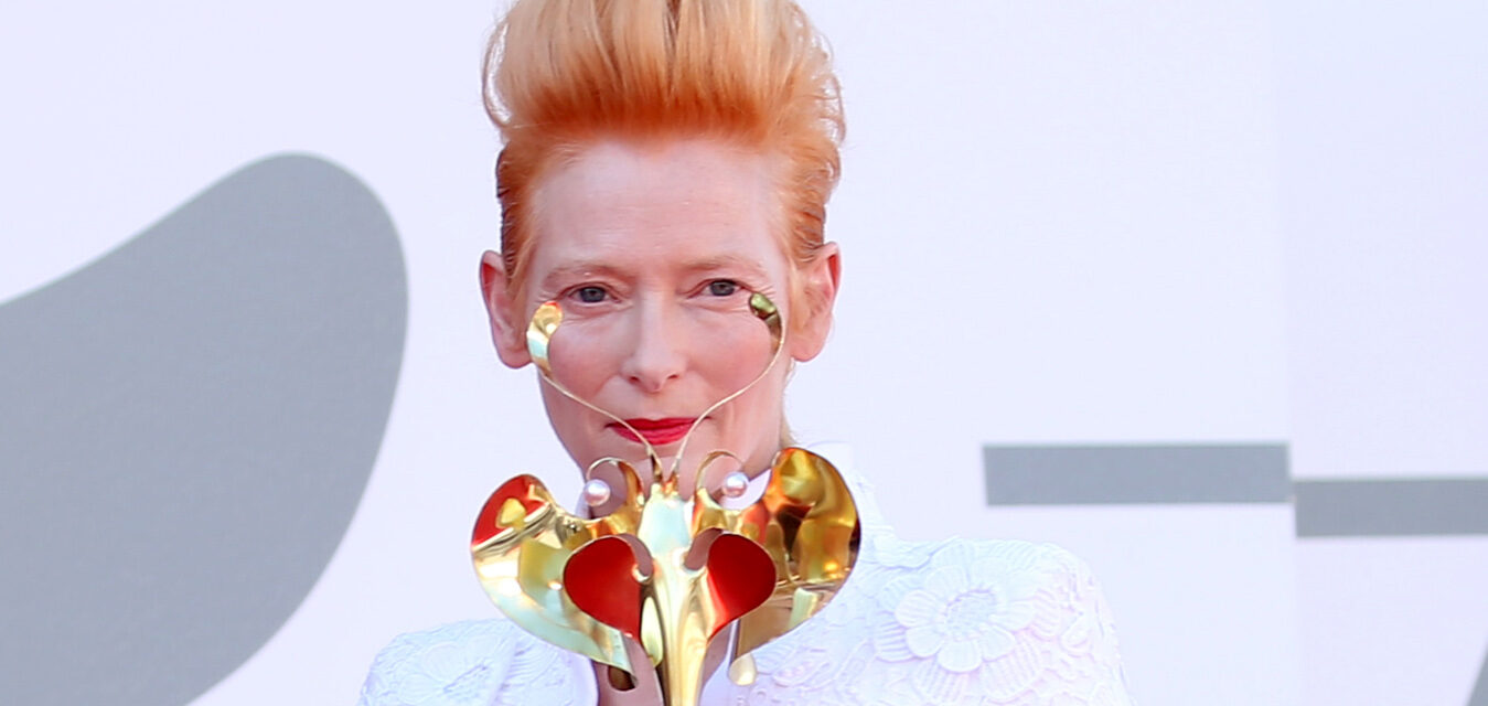 "VENICE, ITALY - SEPTEMBER 03: Tilda Swinton walks the red carpet ahead of the movie ""The Human Voice"" at the 77th Venice Film Festival at on September 03, 2020 in Venice, Italy. (Photo by Franco Origlia/Getty Images)"