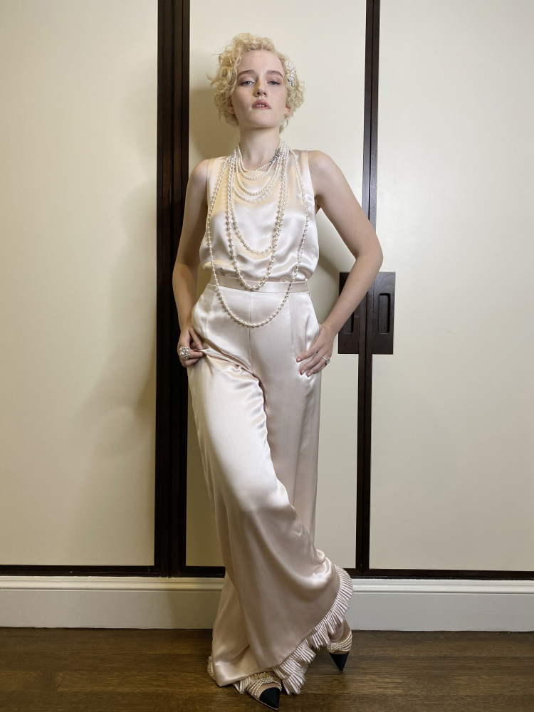 """Julia Garner wore Chanel at the 72nd """"virtual"""" Emmy Awards . photo by Mark Foster"""