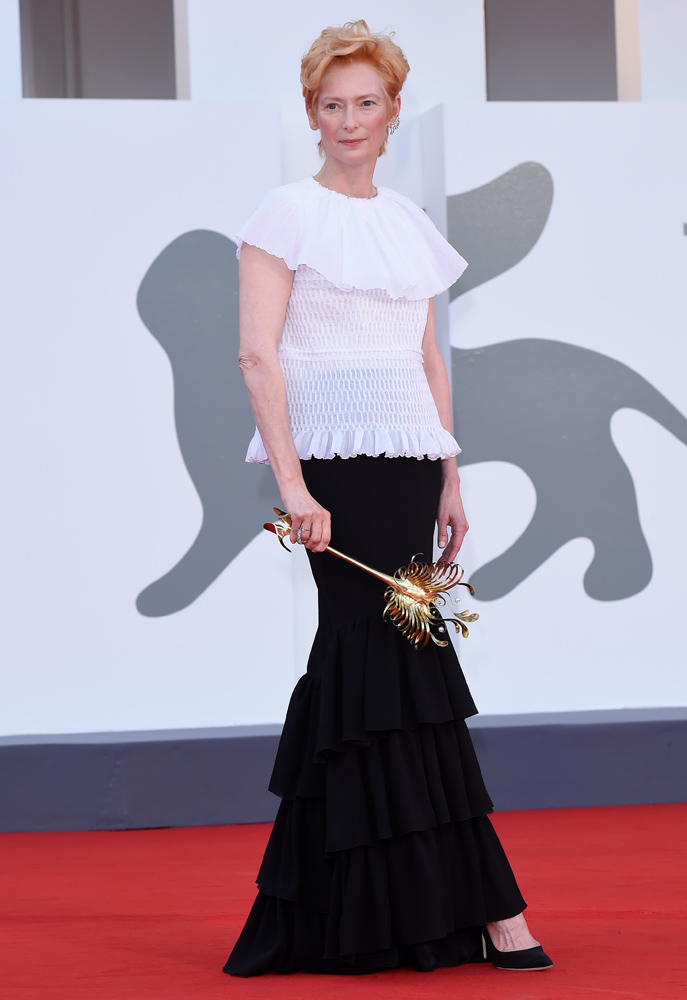 """VENICE, ITALY - SEPTEMBER 02: Actress Tilda Swinton walks the red carpet ahead of the Opening Ceremony and the """"Lacci"""" red carpet during the 77th Venice Film Festival at on September 02, 2020 in Venice, Italy. (Photo by Stefania D'Alessandro/WireImage,)"""