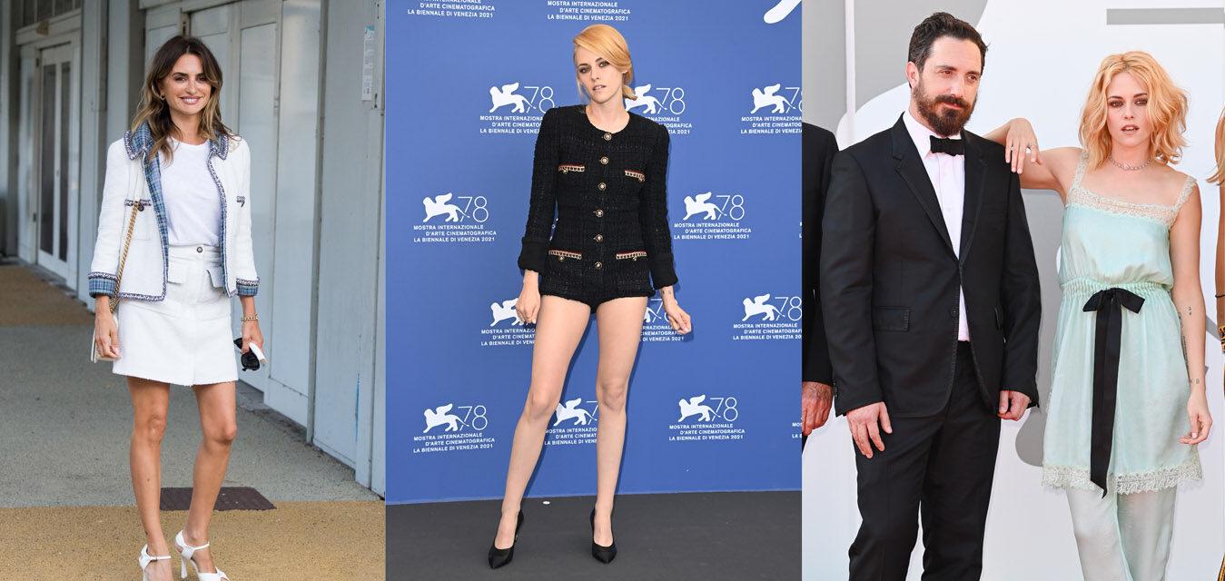 "Penelope Cruz, Pablo Larraín and Kristen Stewart Kristen Stewart, wore Chanel at the ""Spencer"" Première during the 78th Venice Film Festival"