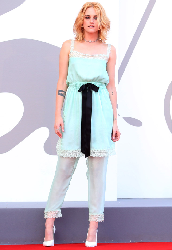 """Kristen Stewart wore Chanel at the """"Spencer"""" Première during the 78th Venice International Film Festival . photo by Franco Origlia"""
