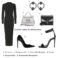 Tubino nero Versace, Orecchini neri Dsquared2, Borsa silver Dolce&Gabbana, borsa nera Fendi, Decollete Alexander McQueen, sandalo Dsquared2