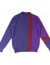 DRUMOHR_D8W103IG_Maglia girocollo in lana intarsia Color-Block in tre diverse tonalità