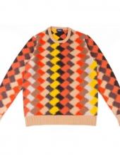 DRUMOHR_D8W103IN_Maglia girocollo in lana caratterizzato disegno intarsia all over in 9 diverse tonalità