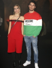 Claudia Zanella and Luigi Cesolini . Moschino - Front Row - Menswear Collection Autumn/Winter 2019/20