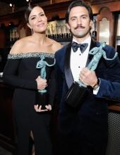 Milo Ventimiglia & Mandy Moore attends the 25th Annual Screen ActorsGuild Awards at The Shrine Auditorium on January 27, 2019 in Los Angeles, California.